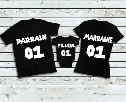 trio tee-shirt parrain marraine et filleul(e)