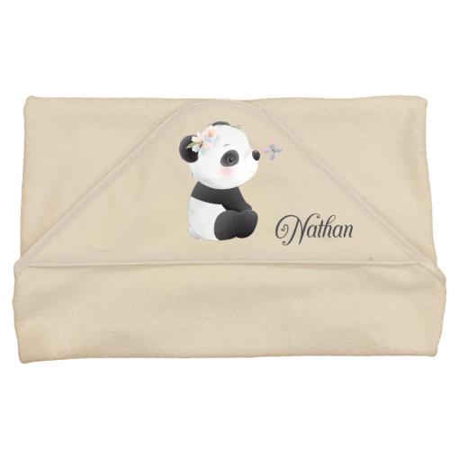 cape de bain panda personnalisée prénom