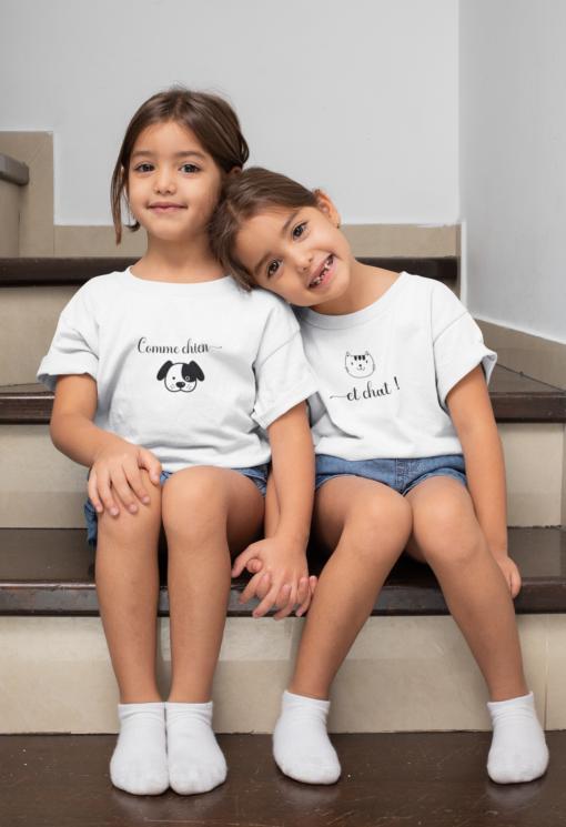 t-shirts duo humoristique comme chien et chat